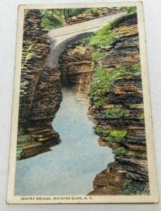 Vintage Postcard - Sentry Bridge, Watkins Glen NY Unposted
