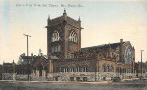 First Methodist Church, San Diego, California 1908 Hand-Colored Vintage Postcard