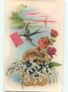 Pre-Linen BIRD DELIVERING LETTER & FLOWER BASKET AC5673