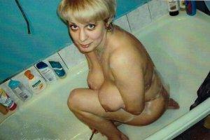 H-023  A Blonde Woman Bathing Risque Repro 2X Color Picture Postcard