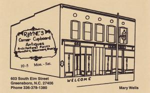 Rhyne's Corner Cupboard Antiques, GREENSBORO, North Carolina, 40-60's