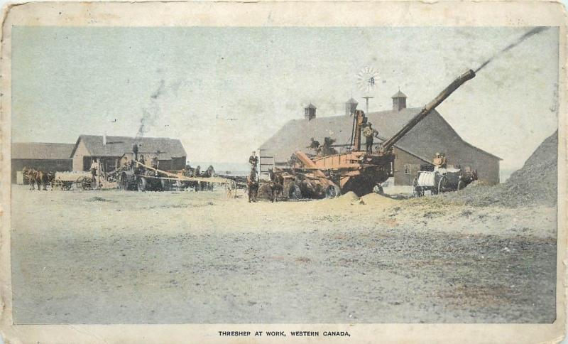 Farms in Western Canada advertising agriculture machine threser at work