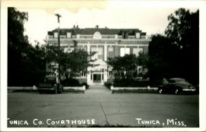 Vtg Postale Cppr 1940s Tunica Mississippi Ms Comté Palais de Justice Voiture Unp
