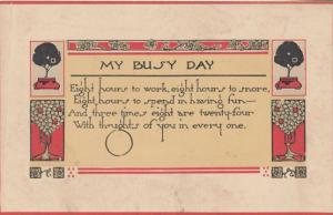My Over Busy Hectic Day Proverb Motto Antique Postcard