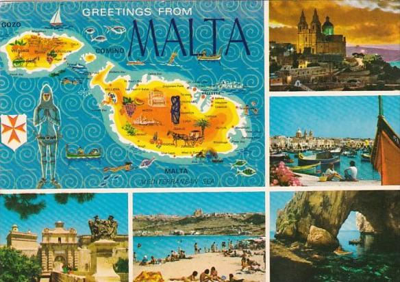 Greetings From Malta Multi View and Map