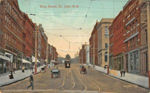 St John N.B. Canada King Street Horse & Wagon Storefronts Trolley Postcard