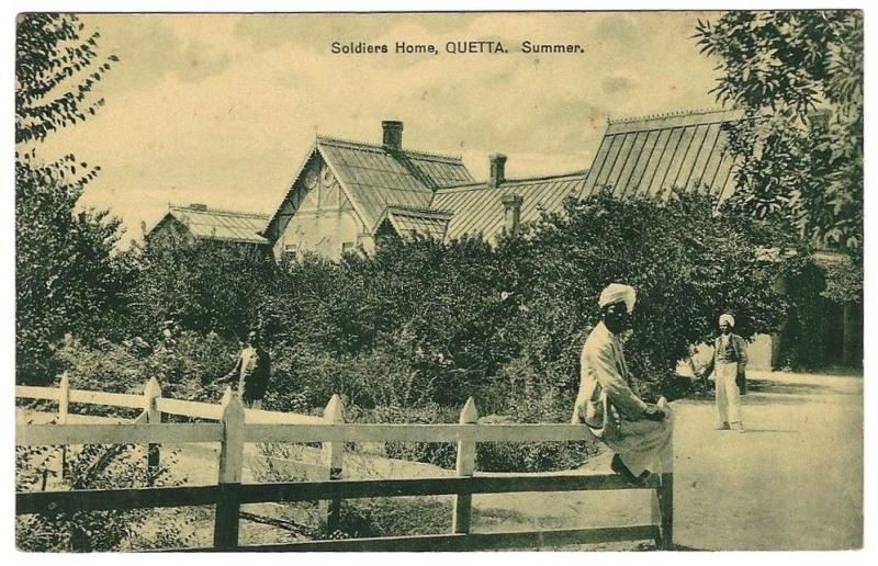 India Soldier's Home, Quetta vintage postcard