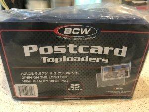 Twenty-Five (25) New POSTCARD Toploaders Longside BCW Rigid PVC 5.875x3.75