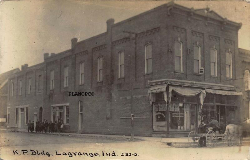 LaGRANGE, INDIANA K. P. BUILDING-ICE CREAM PARLOR RPPC REAL PHOTO POSTCARD