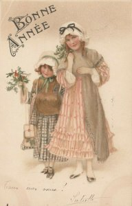 AS; M.M. Vienne Nr 438 (M MUNK), 1910; Bonne Annee, Girls with holly branches
