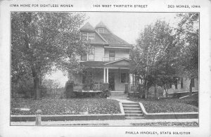 IOWA HOME FOR SIGHTLESS WOMEN Des Moines Phalla Hinckley c1910s Vintage Postcard