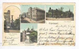 4Views,Tyler-Davidson Fountain,Court House,City Hospital,Garfield Monument, C...