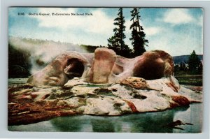 Yellowstone National Park WY, Grotto Geyser, Vintage Wyoming Postcard