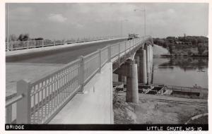 Little Chute Wisconsin~Highway Bridge~Fox River~1950s Cars~Real Photo Postcard