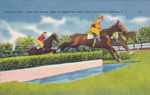 New York Saratoga Springs Steeplechase Over The Water Jump At Saratoga Race T...