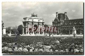 Old Postcard Paris and Place Wonders and Arc de Triomphe du Carrousel