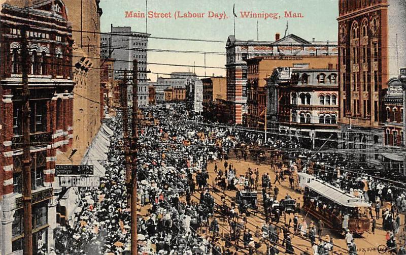 Canada Winnipeg Man. Main Street (Labour Day) Trams Carriages 1912
