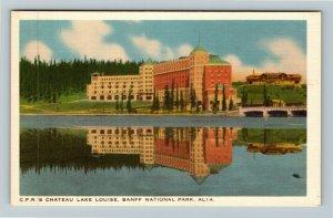 Banff National Park AB Alberta Canada, CPR Chateau Lake Louise Linen Postcard