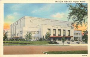 Topeka Kansas~Art Deco Municipal Auditorium~1940 Postcard