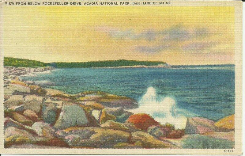Bar Harbor, Maine, View From Below Rockefeller Drive, Acadia National Park