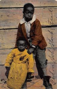 Black Americana~Big Brother Protects Lil Sis~Floppy Shoes~Yellow Dress~1907 PC