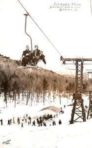 Vermont Stowe Spruce Peak Double Chair Lift 1961 Real Photo