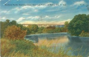 Valley City, ND Northern Pacific Highline Across Sheyenne Valley 1956 Postcard