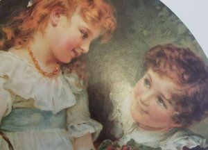 Adorable Children in Loving  Gaze Vintage Large Victorian Style 1920's Litho