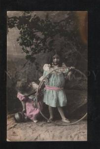 058080 Fashionable Girls & HOOP vintage PHOTO Tinted