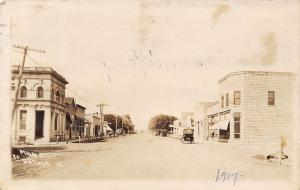 Arthur Iowa~Main Street~Bank~Restaurant~Post Office~Drug Store~Cars~1917 RPPC