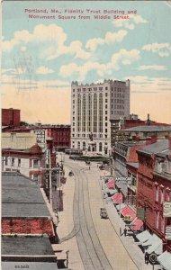 P1699 1914 used postcard monument square view portland maine