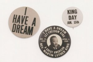 Martin Luther King Day I Have A Dream Vintage Badge Button Postcard