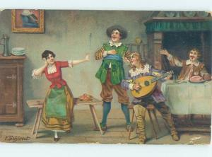 Pre-Linen signed SCHIVERT - MEN PLAY GUITAR AND SING FOR PRETTY WOMAN HJ4703
