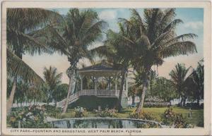 WEST PALM BEACH FL - GAZEBO in CITY PARK & FOUNTAIN 1920s DEMOLISHED
