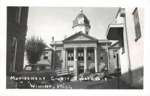 LPSS11 Winona Mississippi Montgomery County Court House Postcard RPPC Old Truck