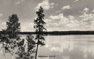 Vintage Postcard Reflections River Greetings From Escanaba Michigan MI