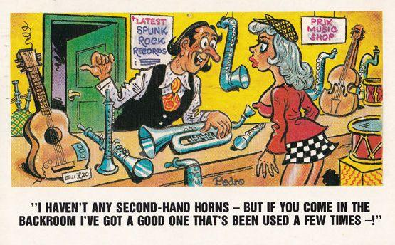 Record Guitar Shop Punk Rock Mispelt *punk Risque 1970s Comic Humour Postcard
