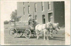Vintage 1910s RPPC Real Photo Postcard HORSE WAGON SCENE Garbage Service Unused
