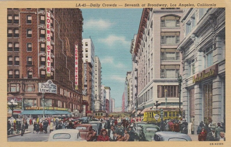 California Los Angeles Daily Crowds At Seventh At Broadway Curteich sk6947