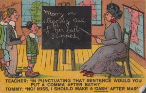 Lady Schoolteacher Chasing Mary Out Of Bath Blackboard Antique Comic Postcard
