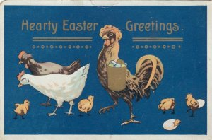 Hearty EASTER Greetings, 1900-10s; Chickens collecting eggs & eggs hatching