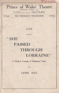 She Passed Through Lorraine Medieval Comedy Prince Of Wales Theatre Programme