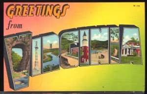 USA Postcard Large Letter Greetings From Virginia