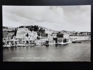 Malta: CUSTOM HOUSE, GRAND HARBOUR - Old RP Postcard