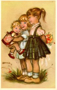 Little Girls Presenting Flowers.  Artist: Bonnie      (Mainzer #595)