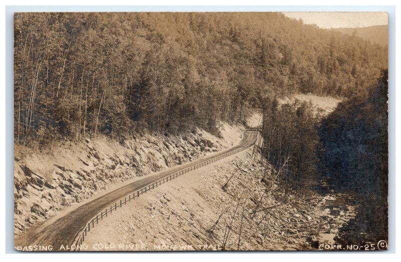 Postcard Passing Along Cold River, Mohawk Trail, MA posted 1917 B2
