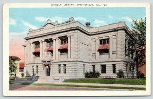 Springfield Illinois~Lincoln Carnegie Library~Razed 1974~1940s Linen Postcard