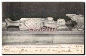 Old Postcard The Abbey of Saint Denis Tomb of Charles Earl of Evreux Elampes