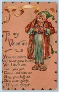 Postcard Valentine's Tuck Leatherette Man in Robe c1907 #2 Y3