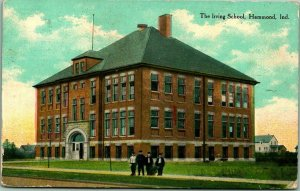 1911 Hammond, Indiana Postcard The Irving School Building / Boys Hanging Out
